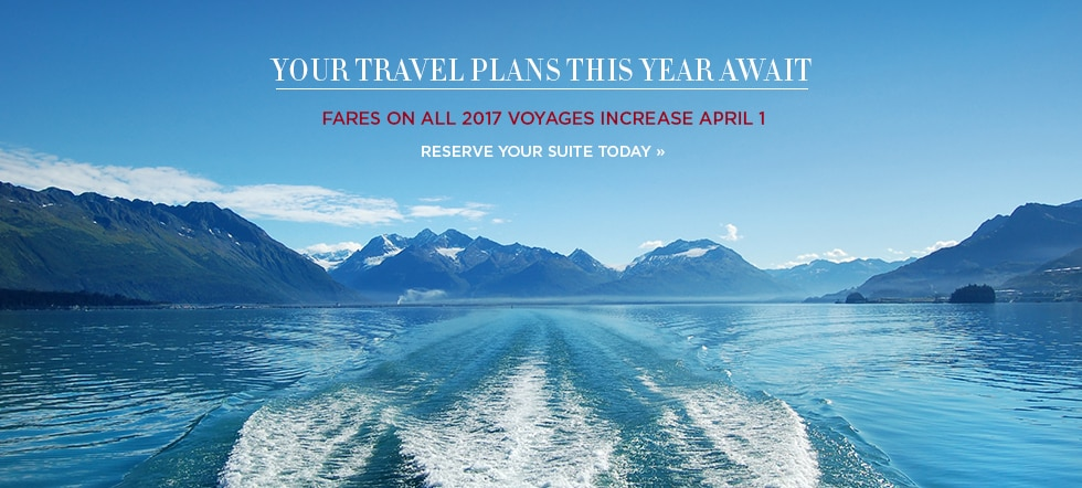 Fares on all 2017 voyages increase 4月1